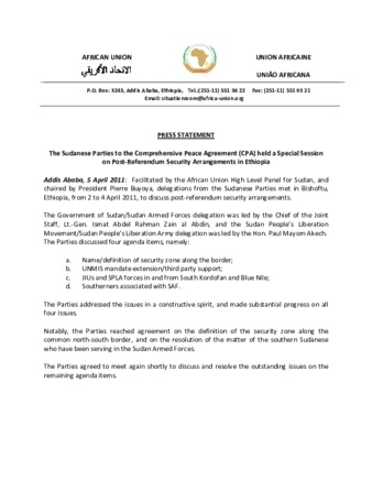 Pdf Press Statement The Sudanese Parties To The Comprehensive