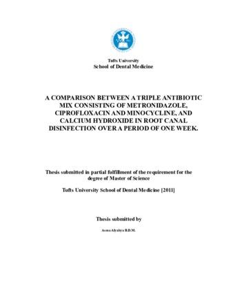 PDF   A COMPARISON BETWEEN A TRIPLE ANTIBIOTIC MIX CONSISTING OF